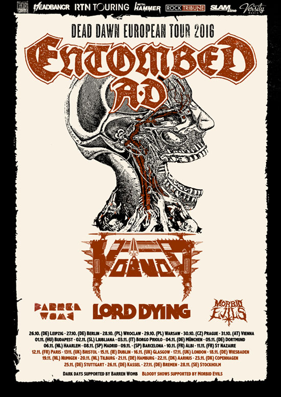 Entombed AD Voivod Live 2016 Poster.